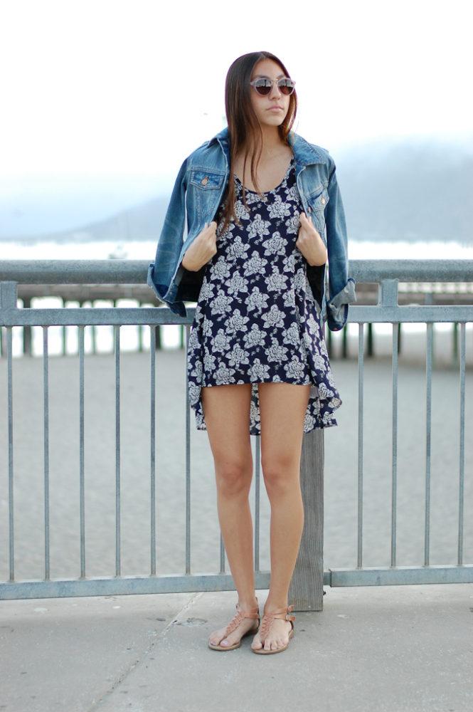 Blue floral dress front