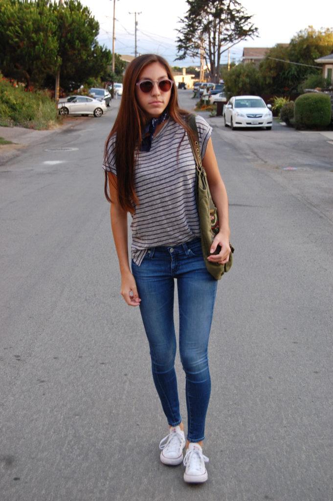 Frame gray shirt & AG blue jeans front