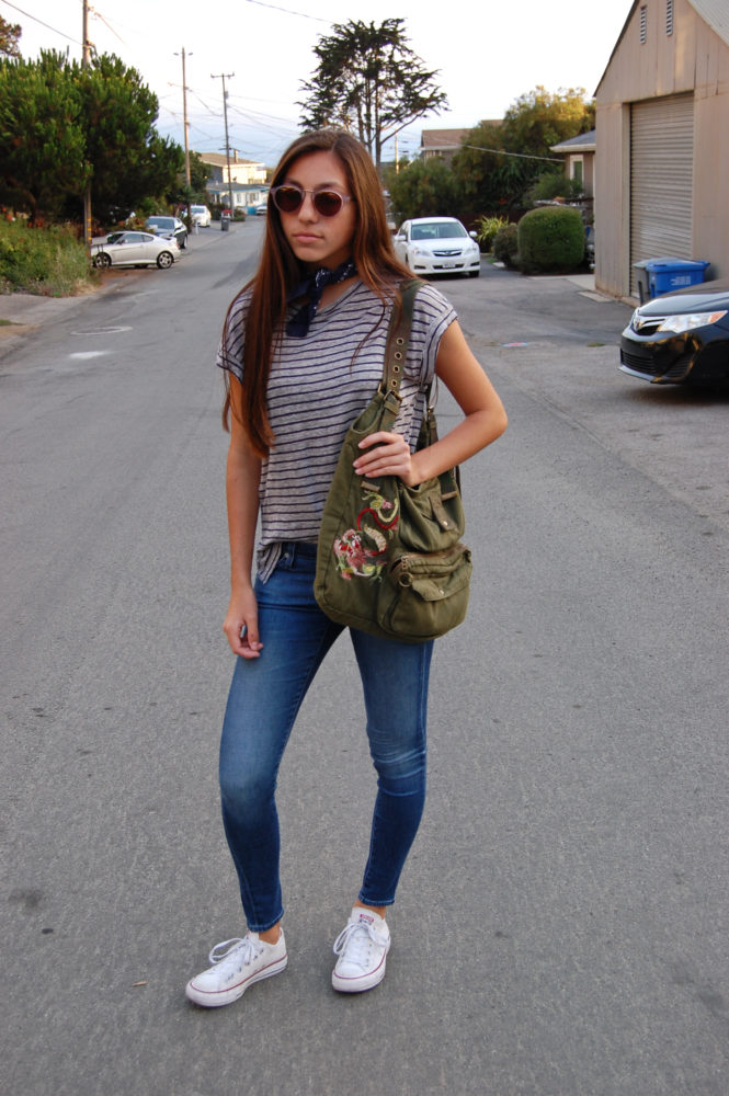 Frame gray striped shirt AG blue jeans