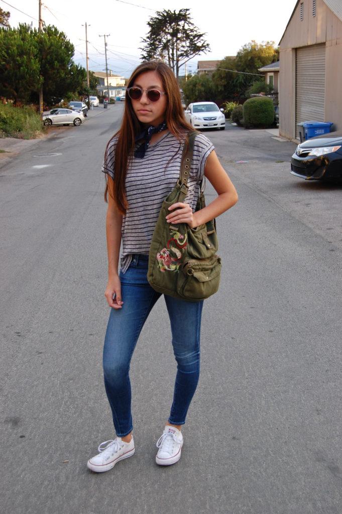 Frame gray striped shirt AG blue jeans