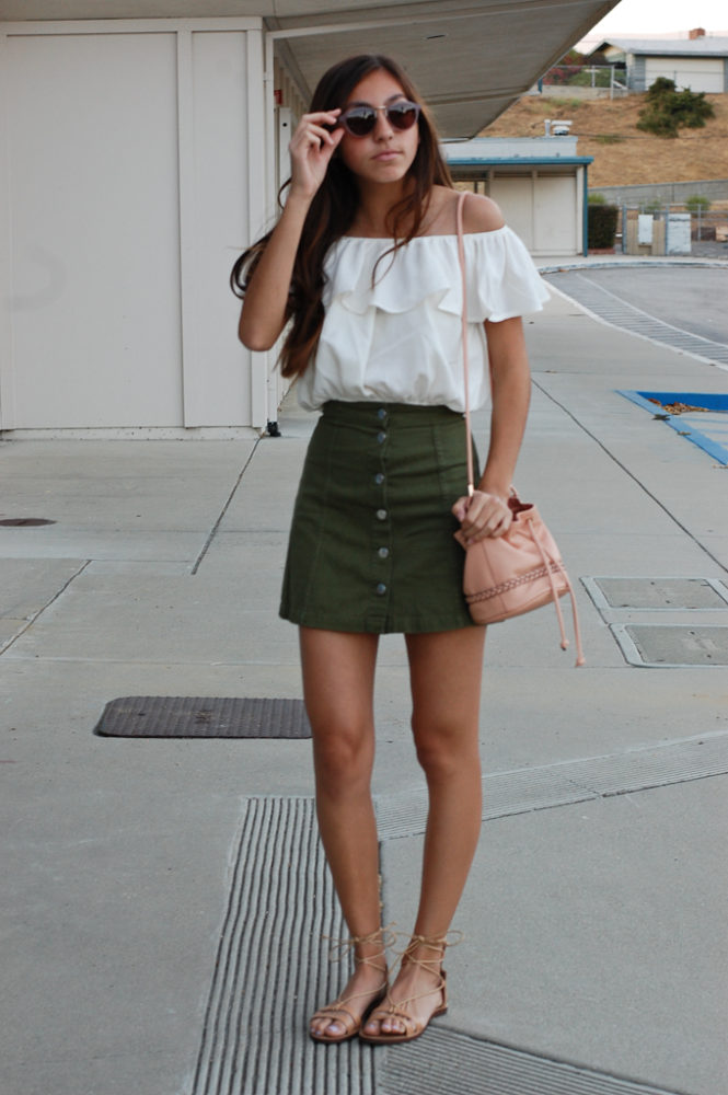Off the shoulder top green skirt front