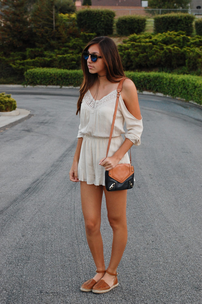 UO cold shoulder romper front