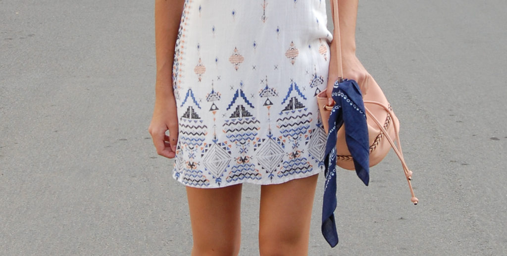 White UO dress bucket bag & scarf closeup