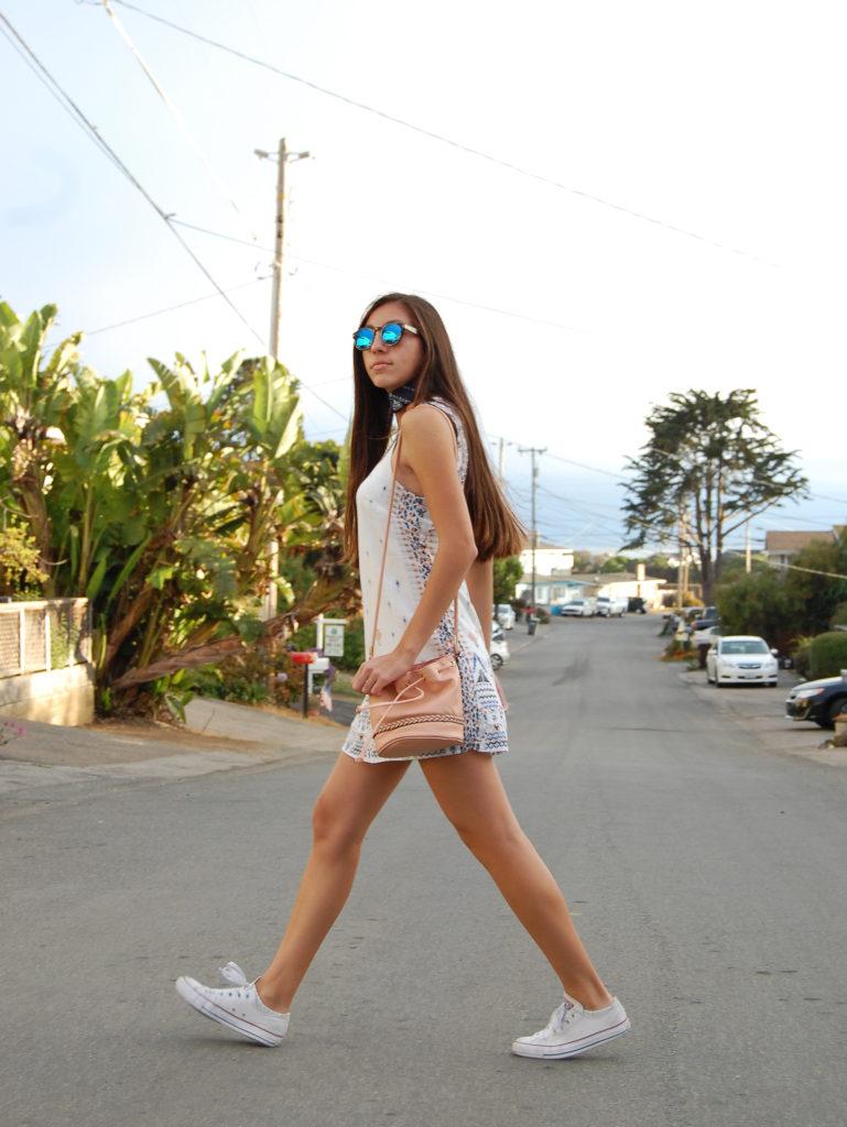 White UO dress & scarf w bucket bag walking