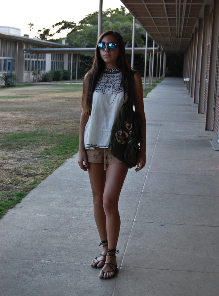 White UO top & tan H&M shorts front