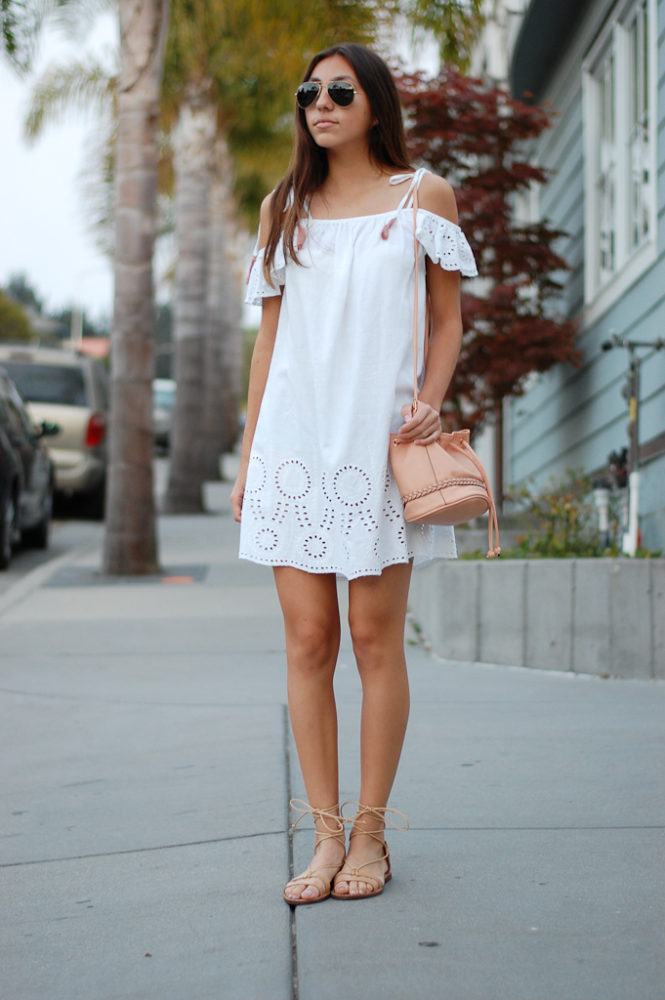 White cold shoulder dress front