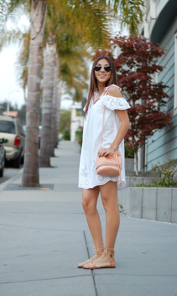 White cold shoulder dress side