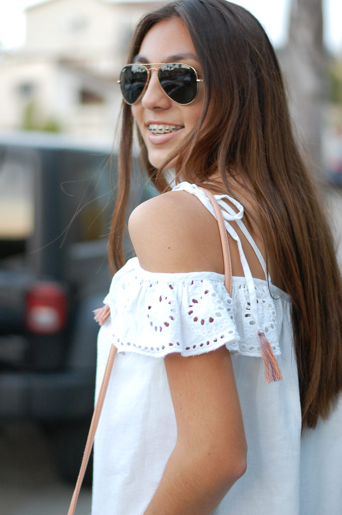White cold shoulder dress side top