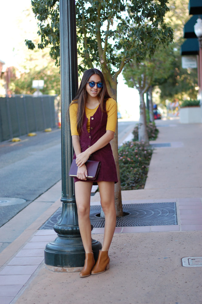 corduroy dress yellow top down