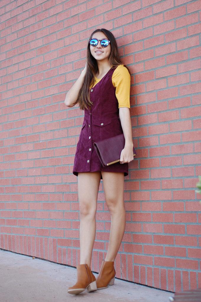corduroy dress yellow top looking