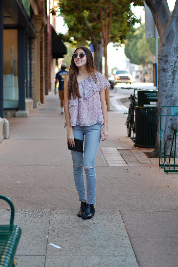 one shoulder gray jeans