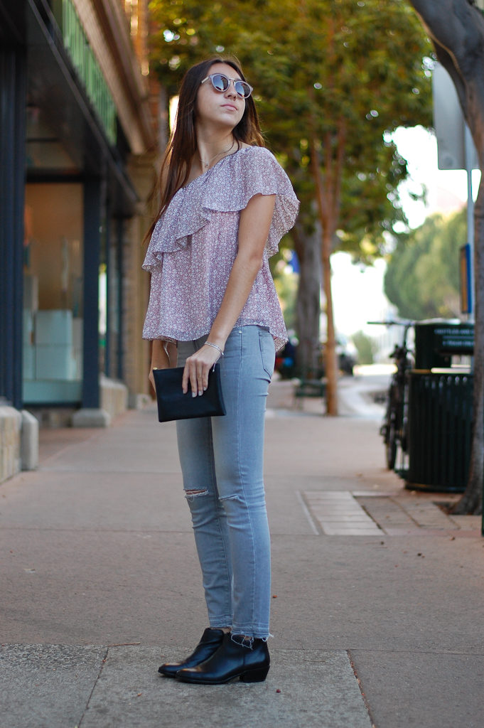 one shoulder gray jeans side