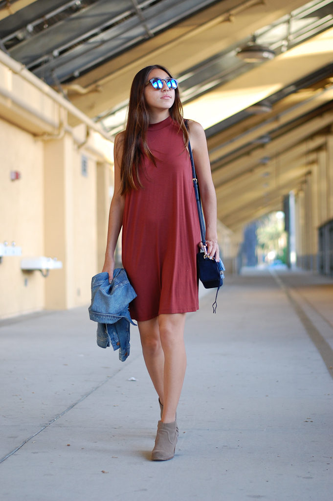 red dress denim jacket walk
