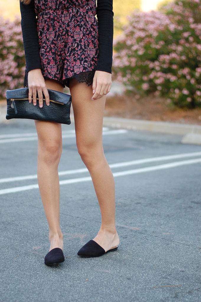 Red floral romper bottom