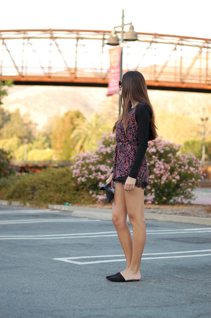 Red floral romper side
