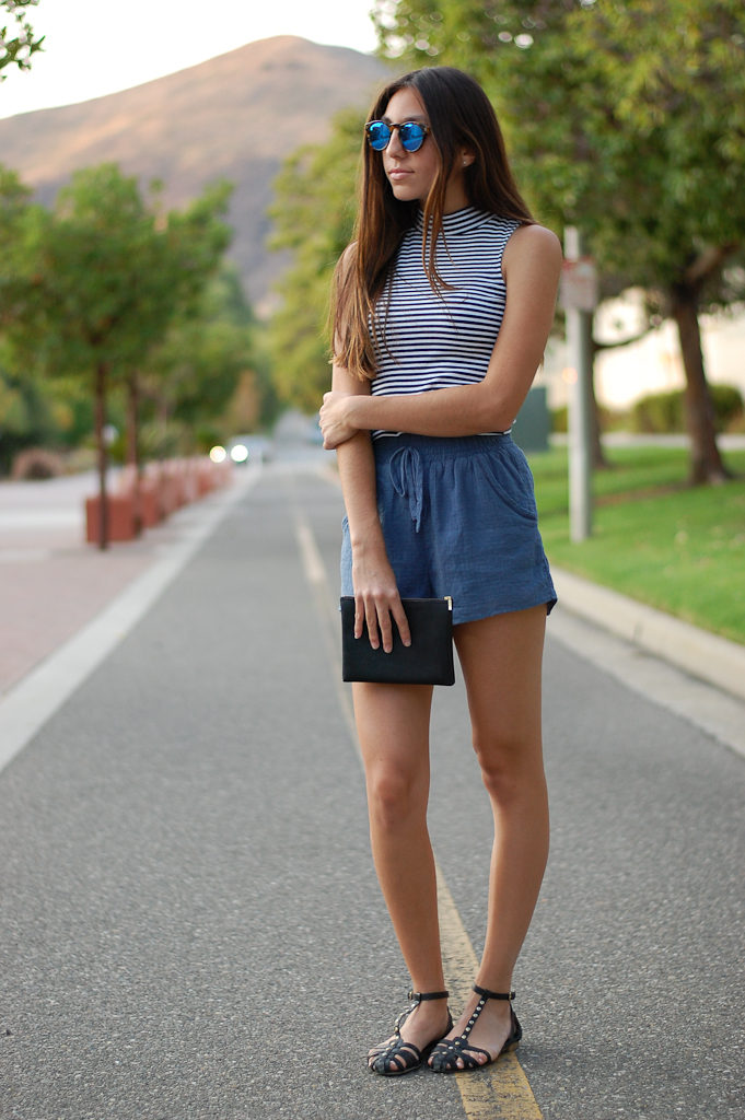 Striped crop top blue shorts