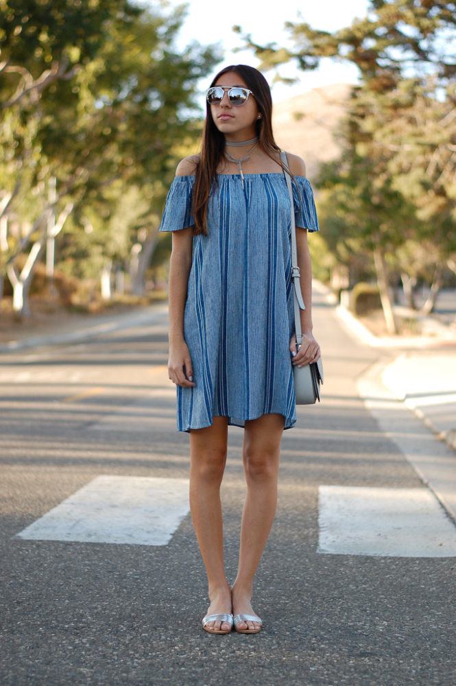 striped off the shoulder dress front