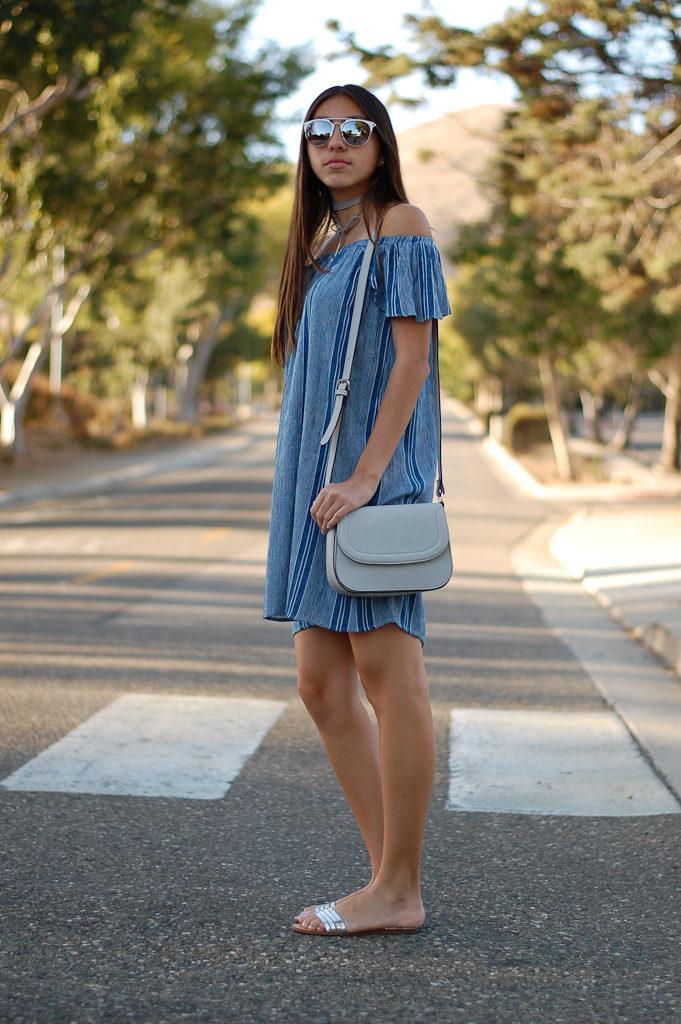striped off the shoulder dress side