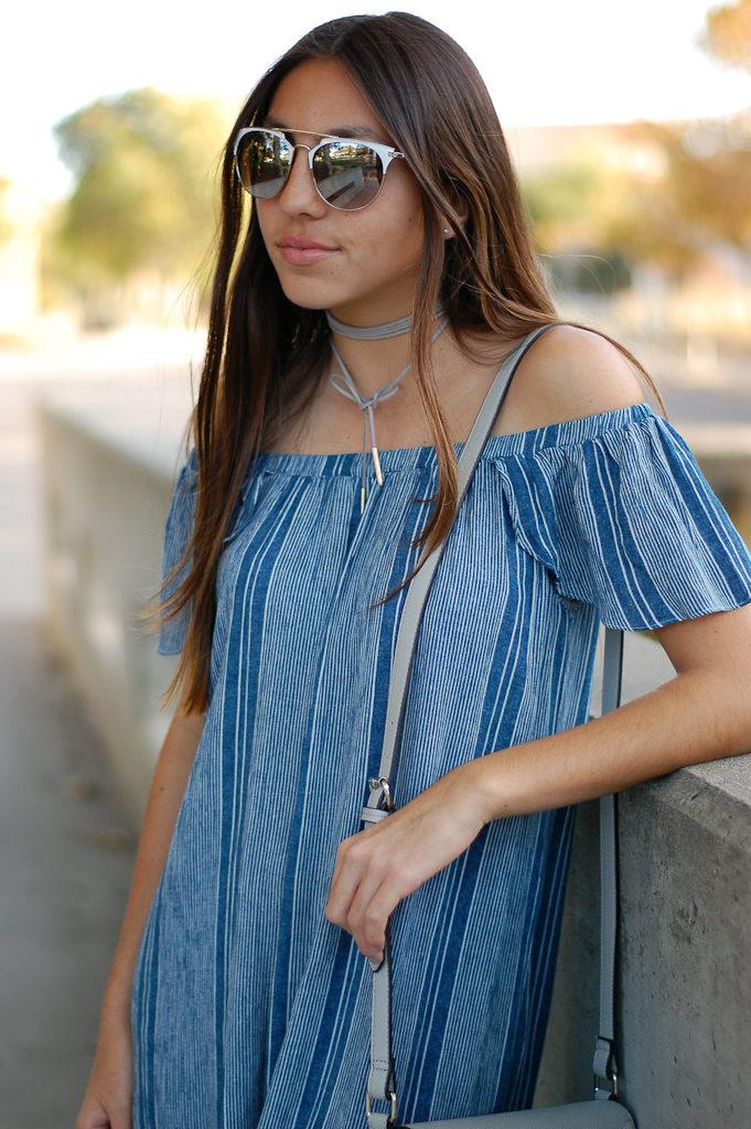 striped off the shoulder dress top