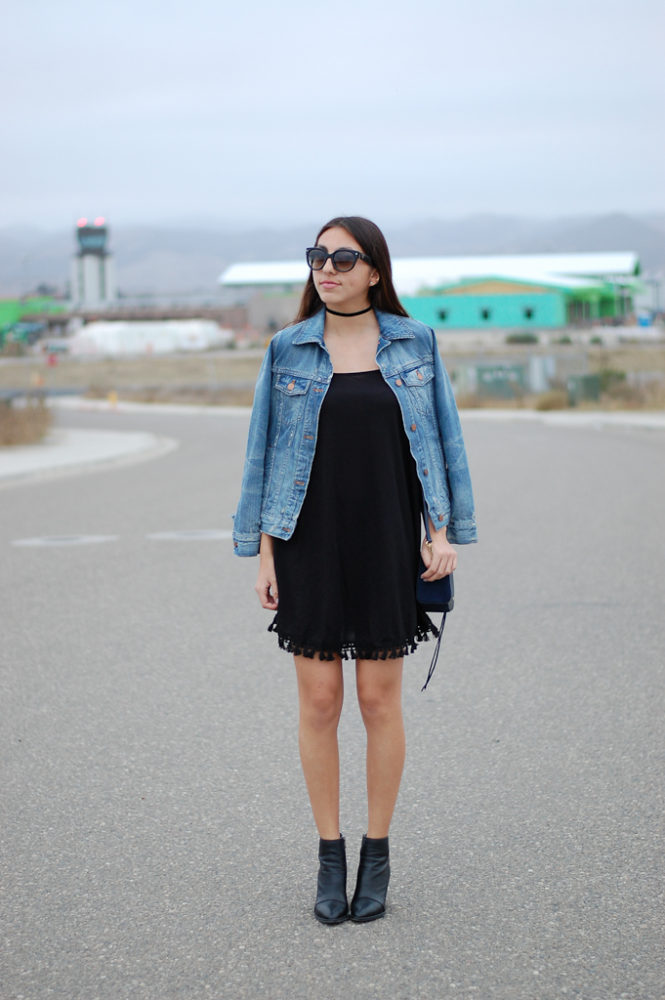 black dress denim jacket front