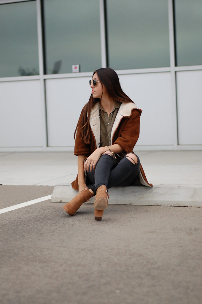 black jeans warm coat far