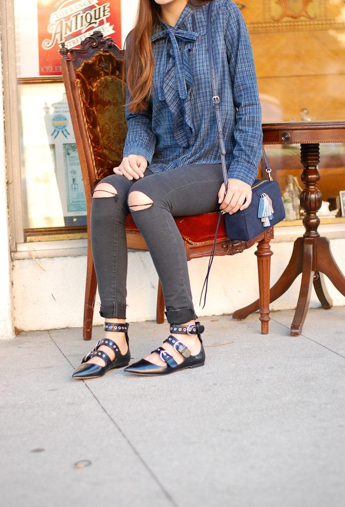 button down black jeans