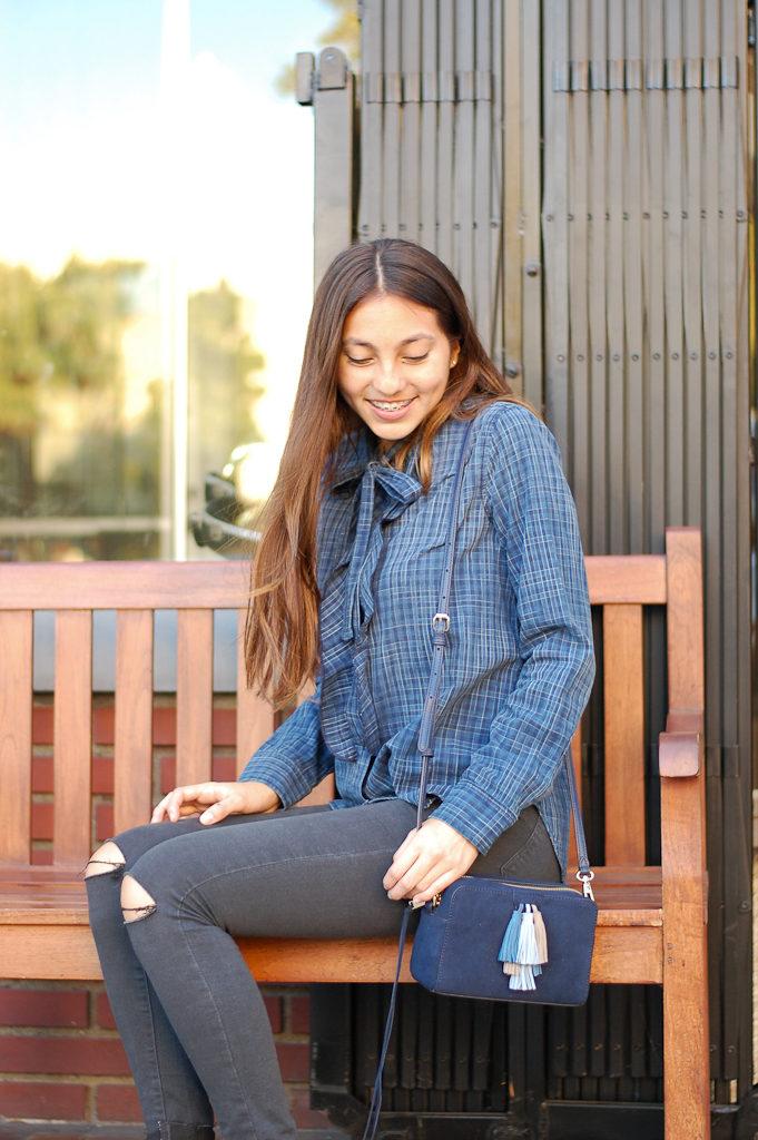 button down black jeans down