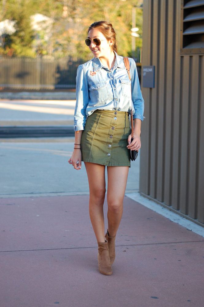 patch button down skirt front