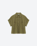 zara green button down