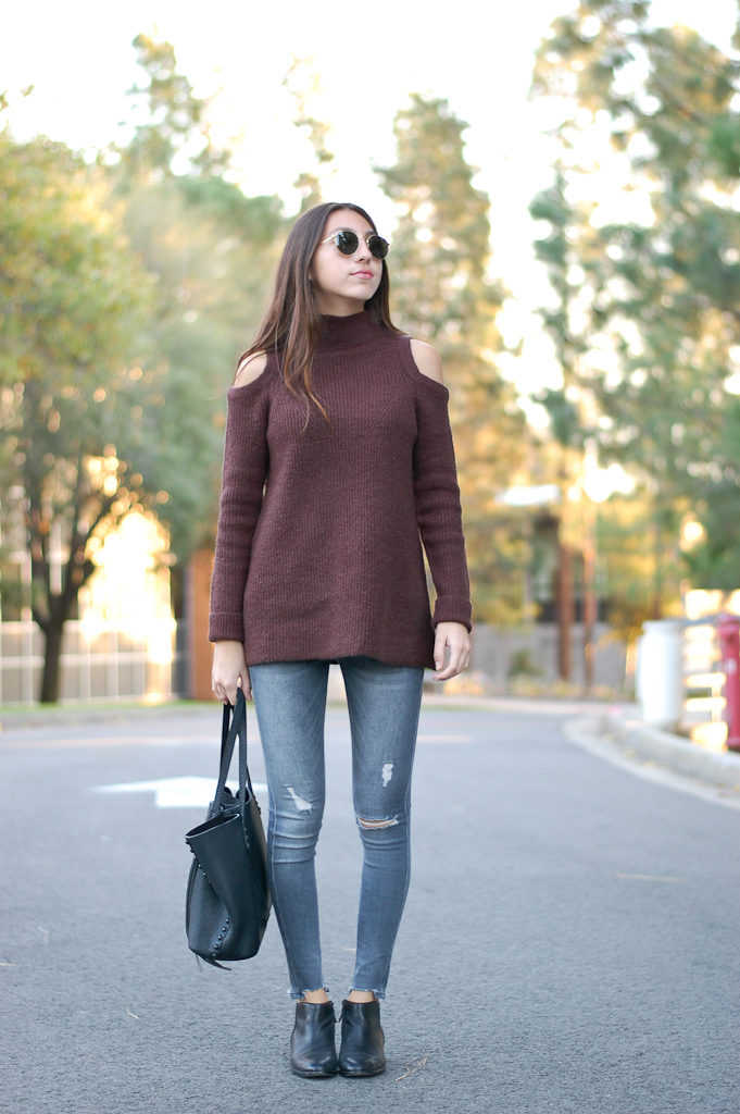 brown sweater gray jeans front full