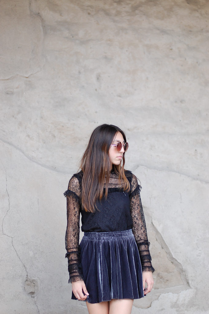 velvet skirt zara top