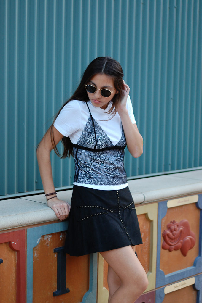zara shirt and skirt lean