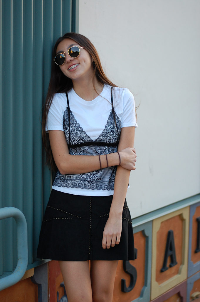 zara shirt and skirt smiling