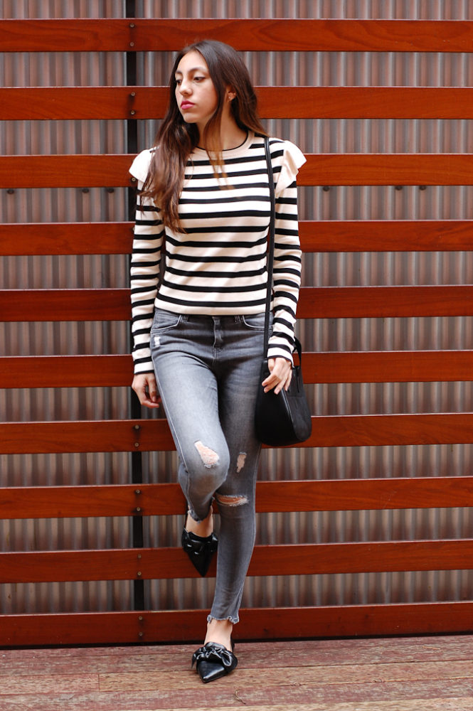 Striped shirt Gray distressed jeans front