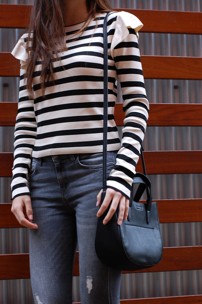 Striped shirt Gray distressed jeans middle