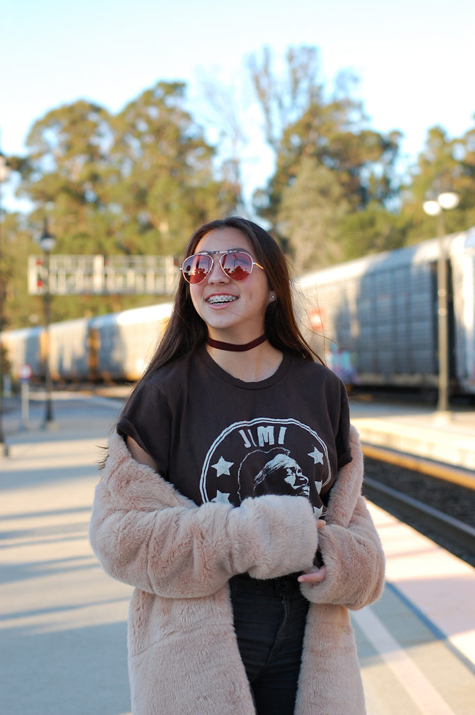 Jimi Hendrix tee Furry coat top smile