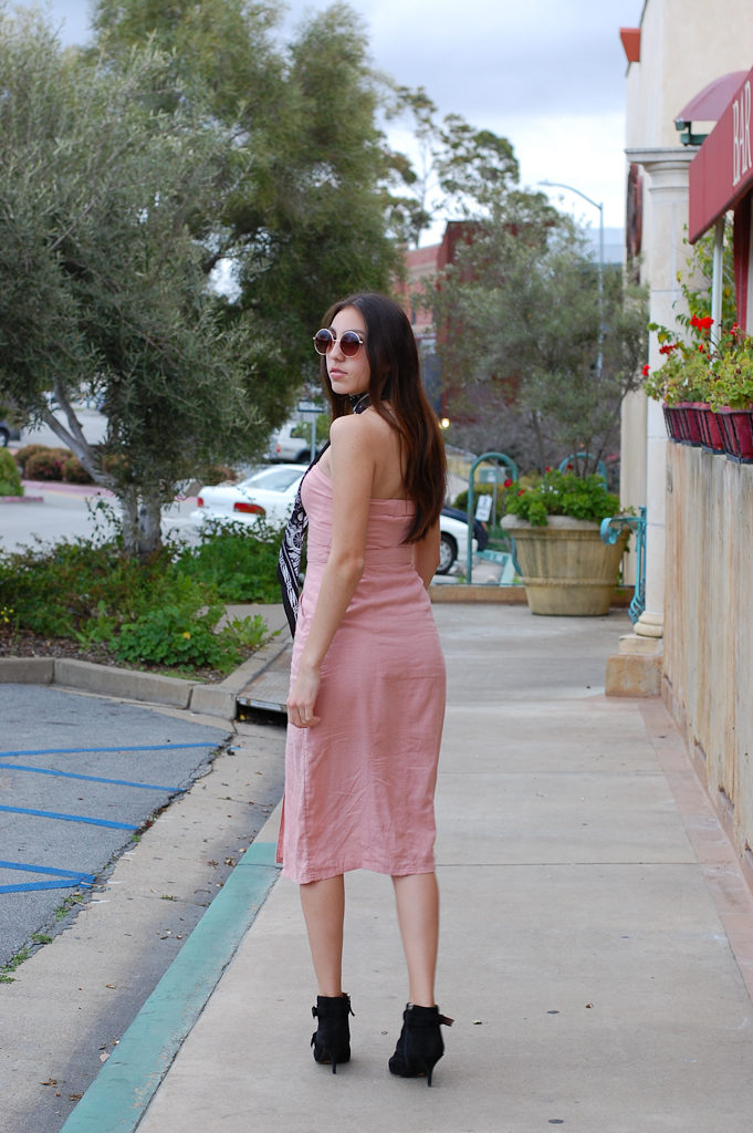 Pink strapless dress back