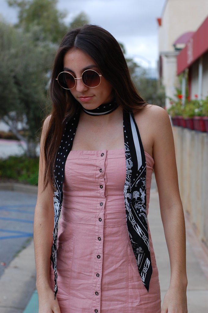 Pink strapless dress top