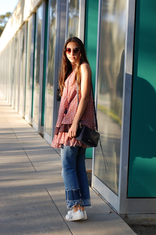 Layered dress over Jeans Full side