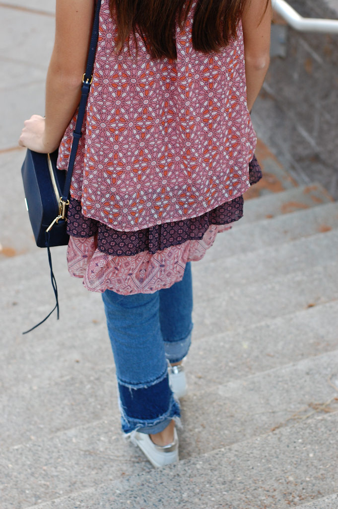Layered dress over Jeans bottom back