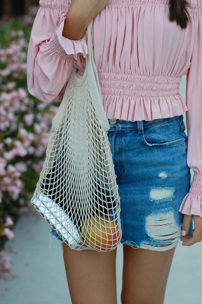 Pink off the shoulder top Denim skirt