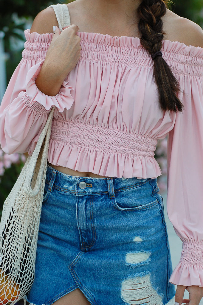 Pink off the shoulder top Denim skirt centered