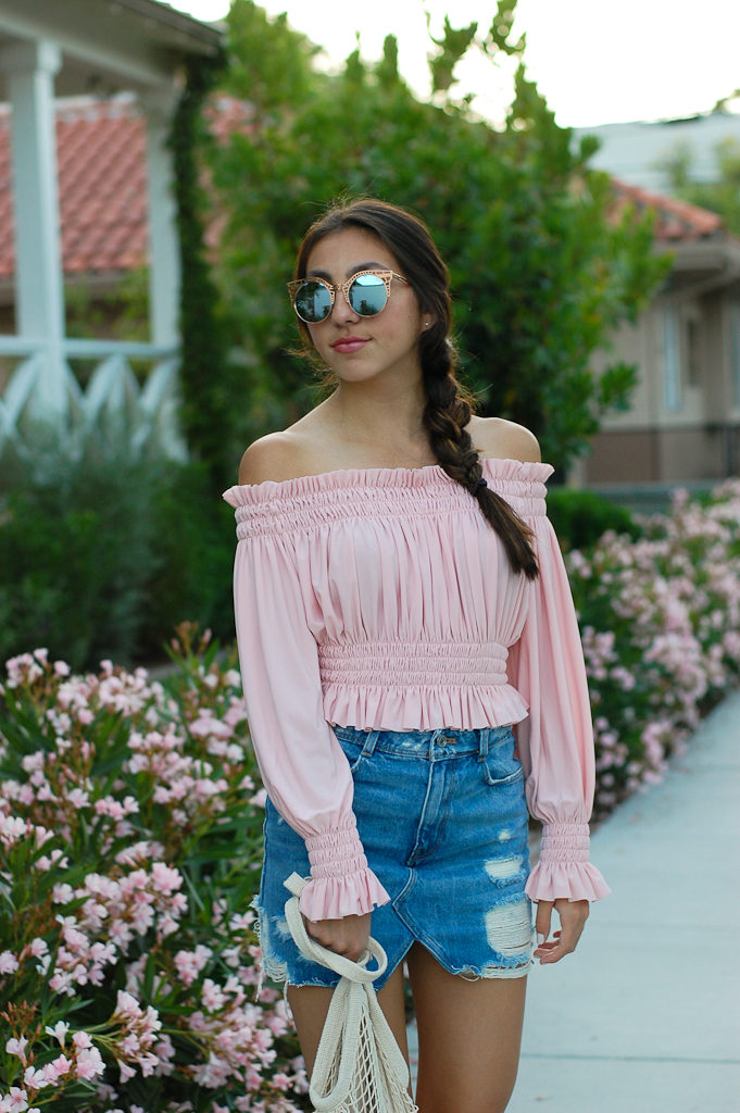 Pink off the shoulder top Denim skirt half