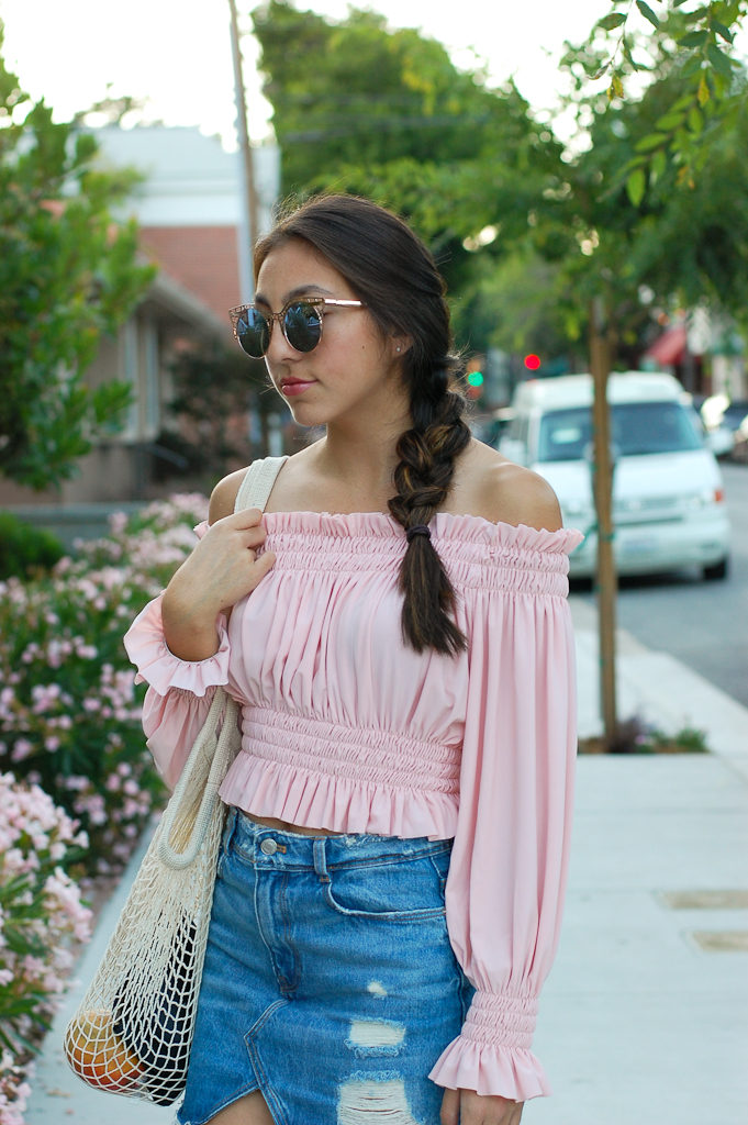 Pink off the shoulder top Denim skirt top half