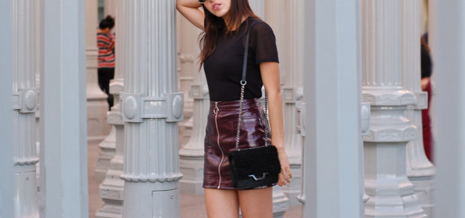 Burgundy skirt Mesh top